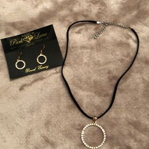 Crystal pendant necklace and earrings
